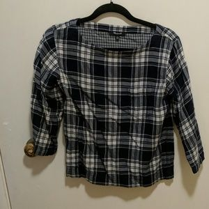 3/4 sleeve plaid flannel top